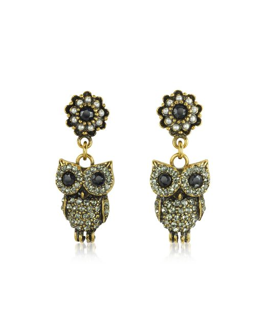 Alcozer & J - Metallic Hanging Goldtone Brass W/crystals Drop Earrings - Lyst