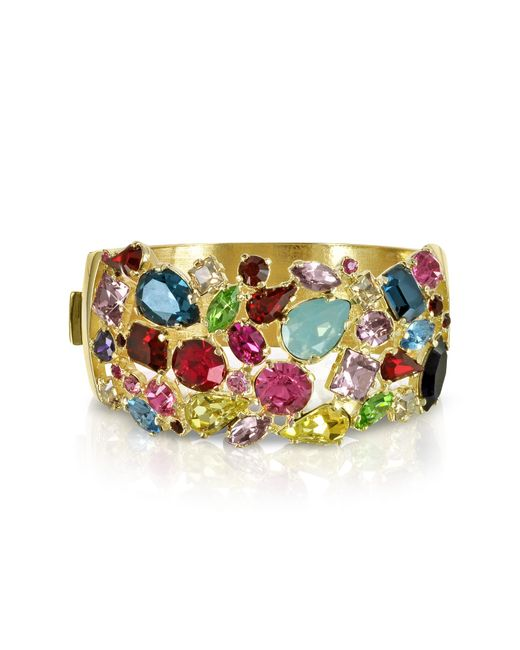 Forzieri - Metallic Gold Plated Metal Bangle W/crystals - Lyst
