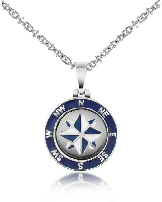 Forzieri - Metallic Stainless Steel Windrose Pendant Necklace for Men - Lyst