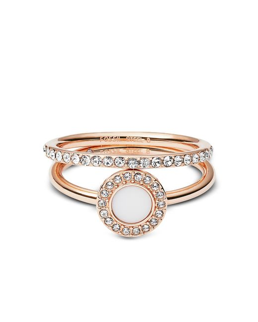 Fossil - Metallic Rose-goldtone Stone Glitz Stackable Women's Ring W/strass And Glass Stone - Lyst