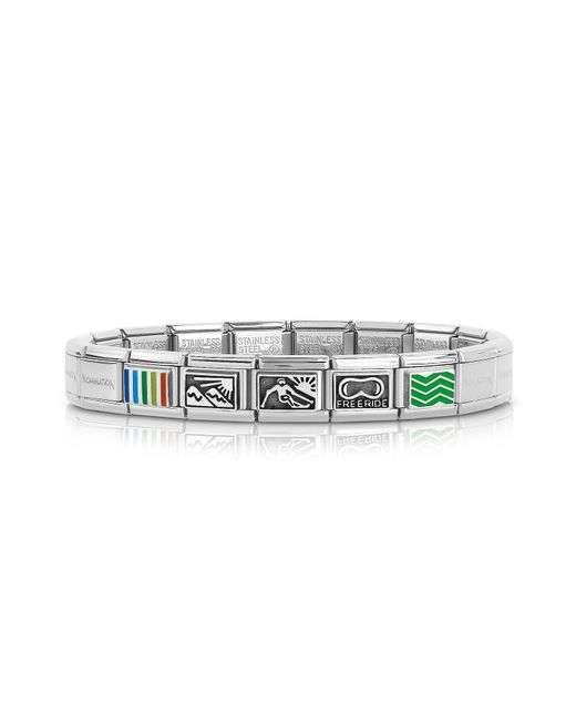 Nomination - Metallic Winter Sports Stainless Steel Men's Bracelet W/stearling Silver & Enamel Symbols for Men - Lyst