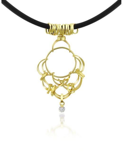 Orlando Orlandini - Metallic Scintille - Diamond Drop 18k Yellow Gold Pendant Necklace - Lyst
