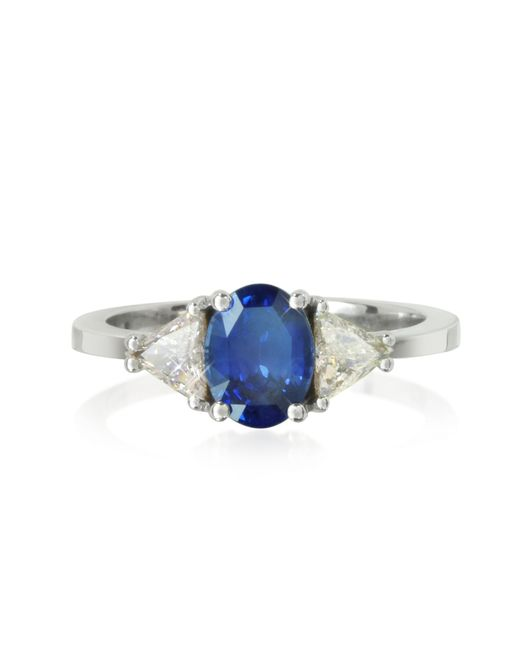 Forzieri - Blue Sapphire And Diamond White Gold Ring - Lyst