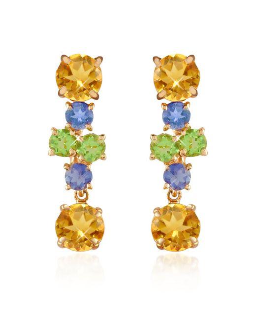 Forzieri - Metallic Amethyst And Citrine Flower 18k Gold Earrings - Lyst