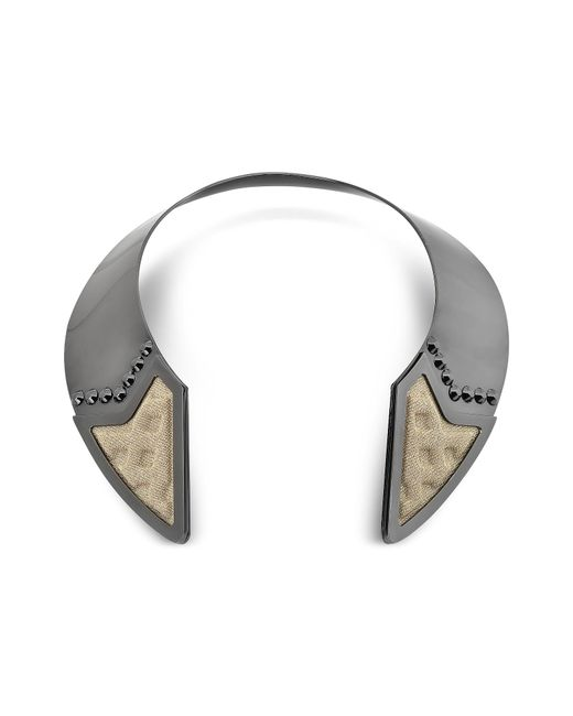 Avril 8790 - Black Inverted Ruthenium Plated Brass And Golden Viscose Collar Necklace W/studs - Lyst