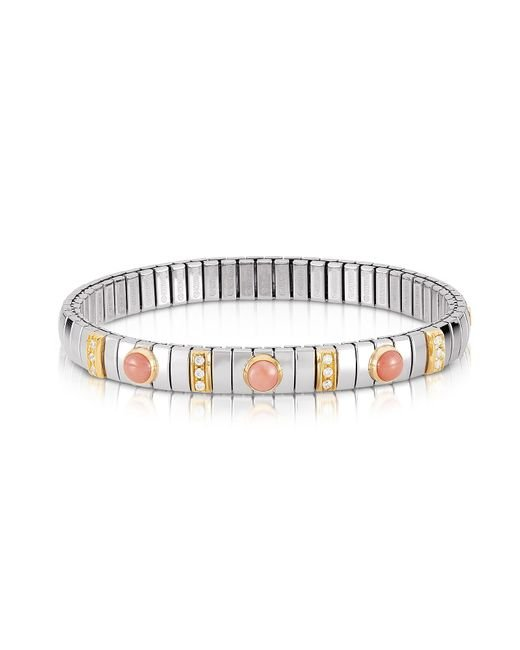 Nomination - Metallic Golden Stainless Steel Women's Bracelet W/pink Corals And Cubic Zirconia - Lyst