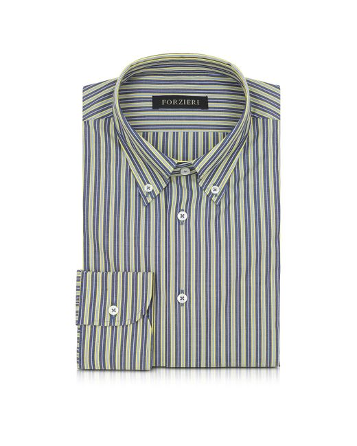 Forzieri | Blue And Yellow Striped Cotton Slim Fit Men's Shirt for Men | Lyst