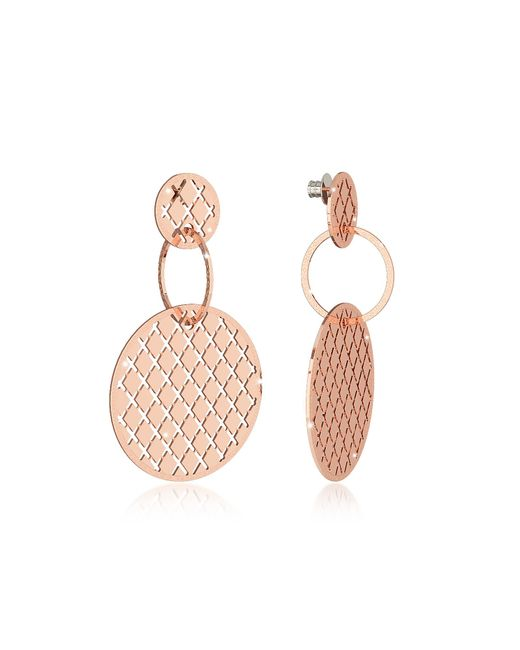 Rebecca - Pink Melrose Rose Gold Over Bronze Stud Drop Earrings W/round Charms - Lyst