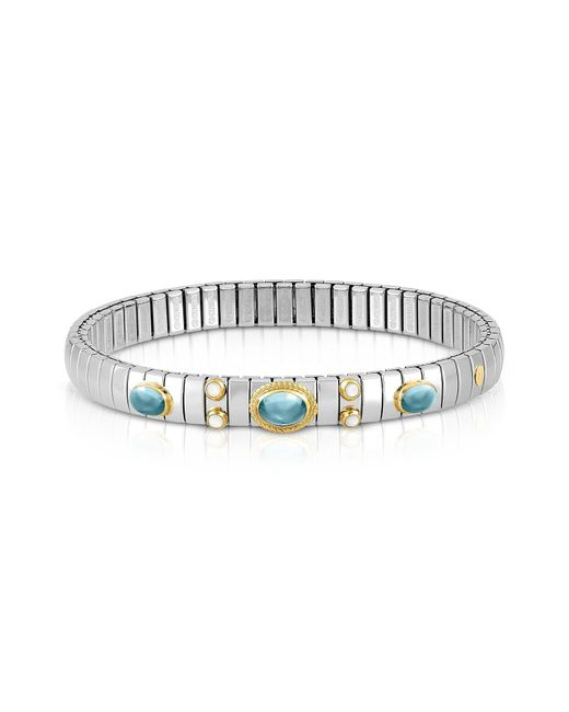 Nomination - Metallic Stainless Steel Women's Bracelet W/light Blue Topaz Oval Beads - Lyst