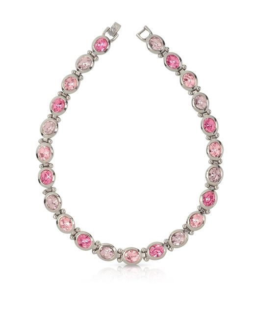 Forzieri - Pink Crystals Necklace - Lyst