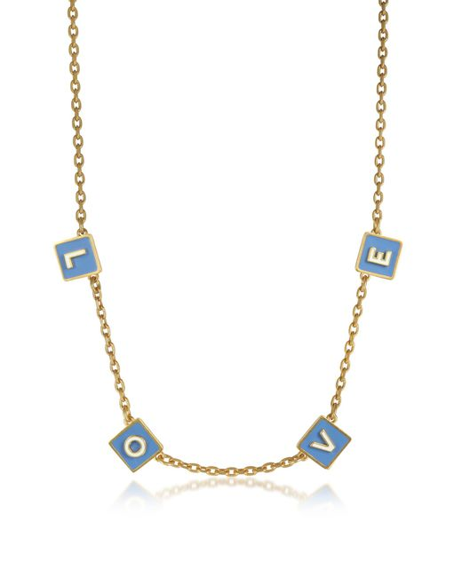 Tory Burch - Metallic Sunny Blue/new Ivory Enamel And Vintage Gold Brass Message Chocker Necklace - Lyst