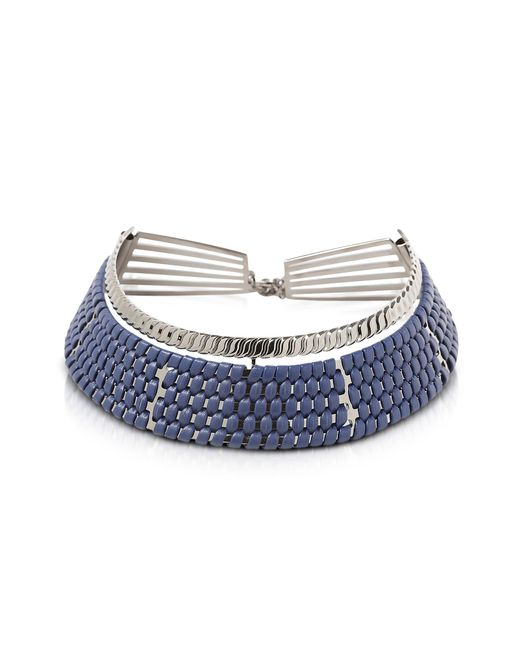 Pluma - Brass W/navy Blue Woven Leather Choker In Fumoso - Lyst