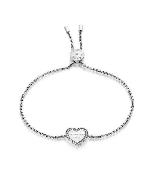 Michael Kors - Metallic Heritage Stainless Heart Bracelet W/crystals - Lyst