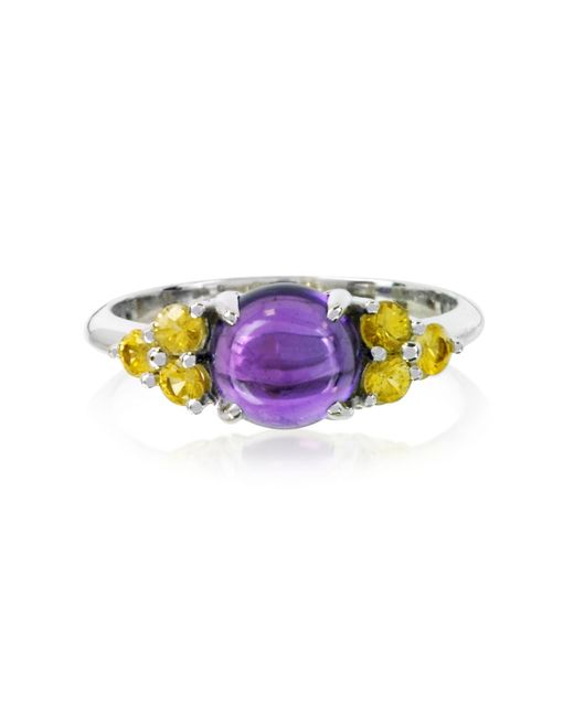 Mia & Beverly - Purple Amethyst And Sapphires 18k White Gold Ring - Lyst