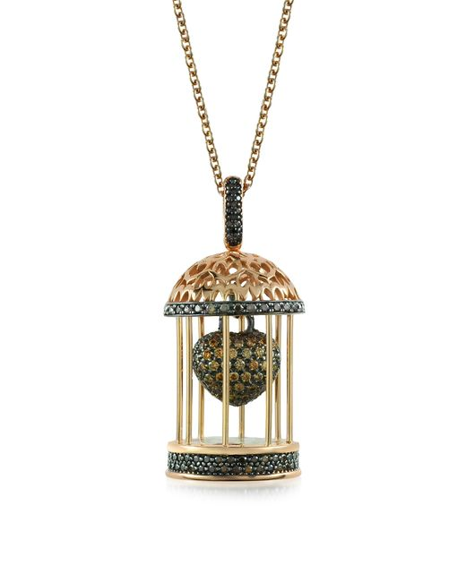 Azhar - Metallic Gabbietta Silver And Zircon Cage Pendant Necklace - Lyst