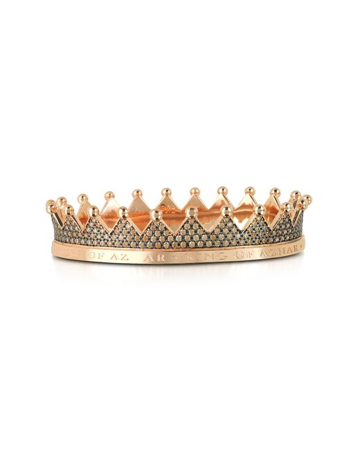 Azhar - Metallic Regno Silver And Zircon Crown Bracelet - Lyst