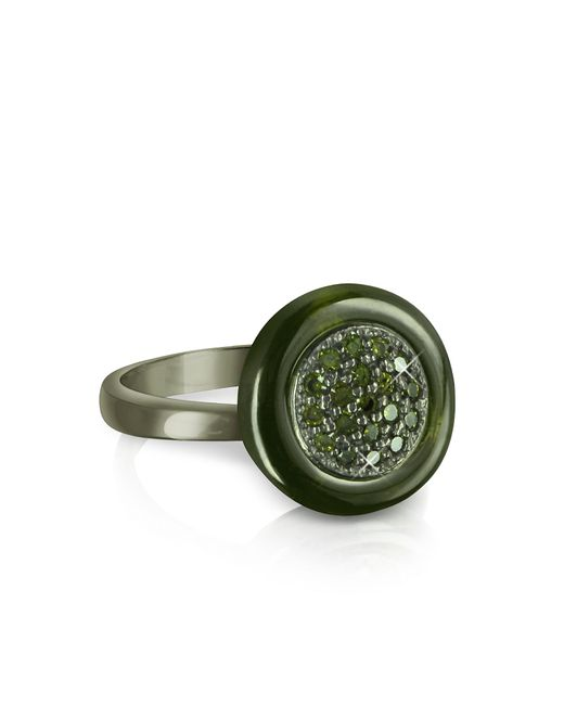 Azhar | Black Olive Green Cubic Zirconia And Sterling Silver Ring | Lyst