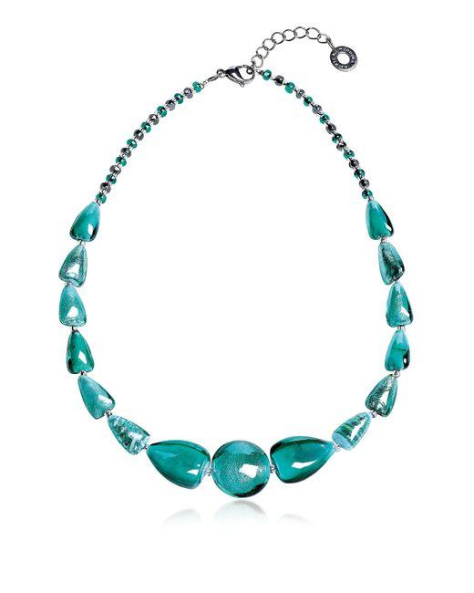 Antica Murrina | Blue Marina 2 Basic - Turquoise Green Murano Glass And Silver Leaf Choker | Lyst