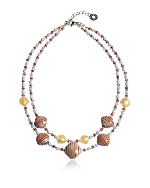 Antica Murrina | Millerighe 2 Double - Pastel Multicolor Murano Glass W/stripes And Gold Leaf Choker | Lyst