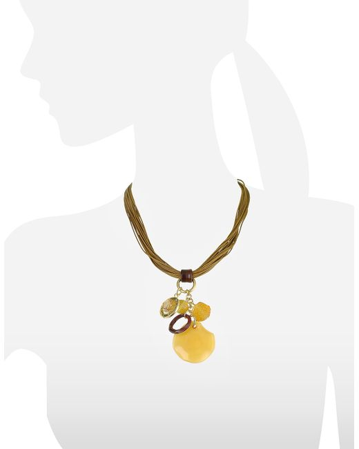 Antica Murrina | Gray Kali' - Murano Glass Charm Pendant Necklace | Lyst