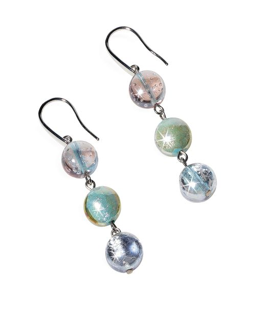 Antica Murrina | Blue Redentore 1 - Pastel Pink And Green Murano Glass & Silver Leaf Dangling Earrings | Lyst