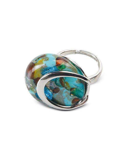 Antica Murrina | Metallic Byzantium - Light Green Murano Glass Ring W/silver Leaf | Lyst