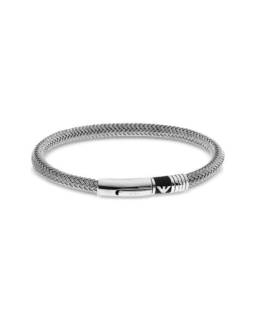 Emporio Armani | Metallic Iconic Woven Stainless Steel Men's Bracelet for Men | Lyst