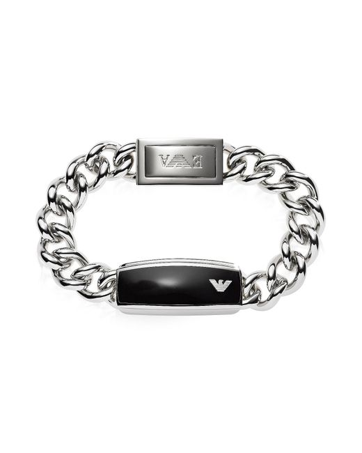 Emporio Armani | Metallic Silver Tone Stainless Steel Men's Bracelet for Men | Lyst