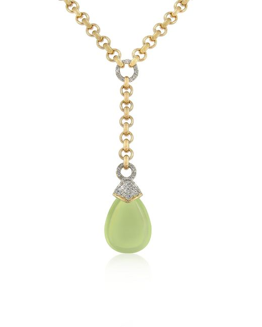 AZ Collection | Green Teardrop Gold-plated Necklace | Lyst