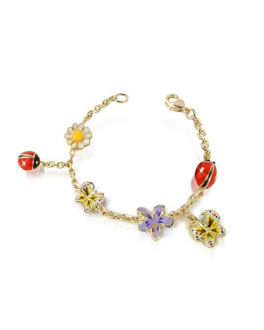 AZ Collection | Metallic Garden Line - Enamel Gold Plated Charm Bracelet | Lyst