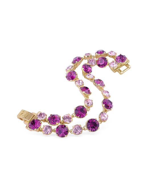 AZ Collection | Pink And Amethyst Gold Plated Bracelet | Lyst