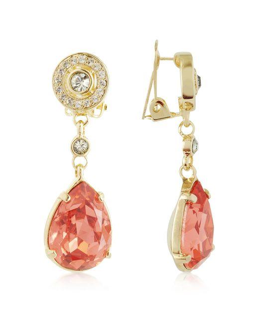 AZ Collection   Metallic Orange Clip-on Drop Earrings   Lyst