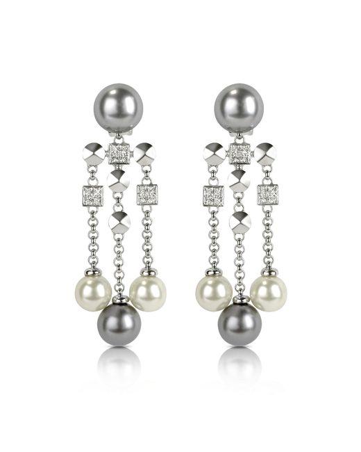 AZ Collection | Metallic Glass Pearl Drops Clip On Earrings | Lyst