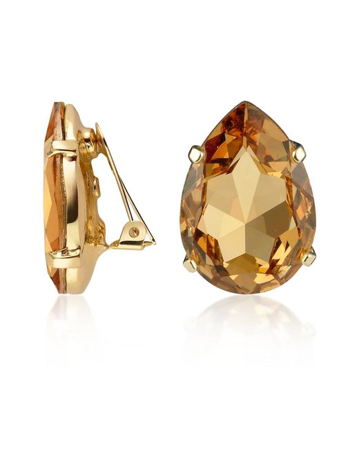 AZ Collection | Metallic Amber Tear-drop Clip-on Earrings | Lyst