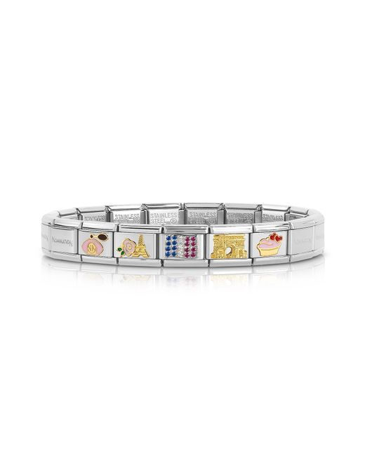 Nomination - Metallic Classic Francia Golden Stainless Steel Bracelet W/cubic Zirconia Flag - Lyst