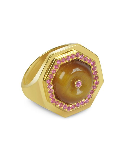 Sho London - Brown Tiger's Eye Clementina Ring - Lyst