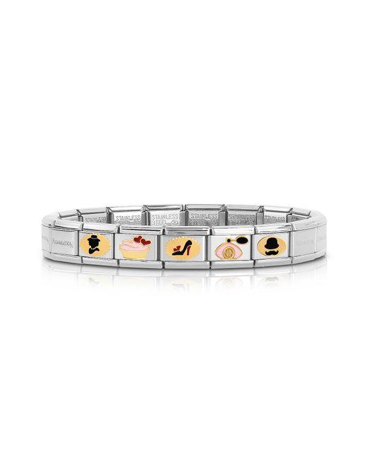 Nomination - Metallic Stainless Steel Bracelet W/golden Madame&monsieur Symbols for Men - Lyst