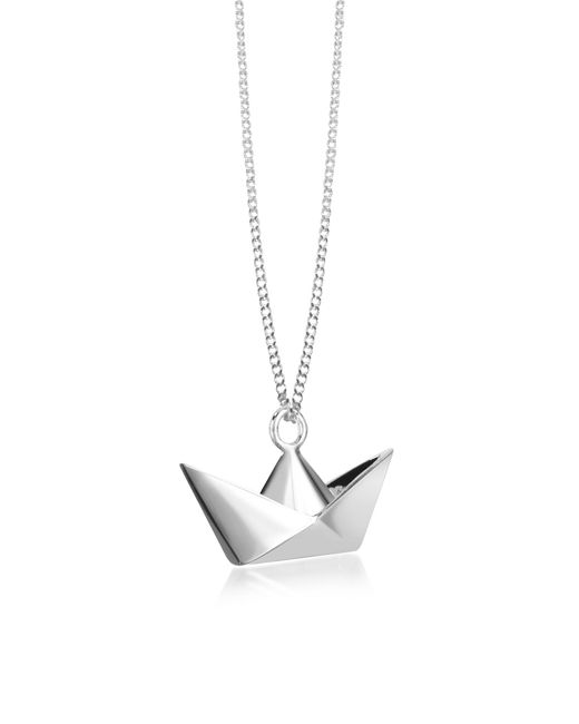 Origami Jewellery | Metallic Sterling Silver Boat Pendant Necklace | Lyst