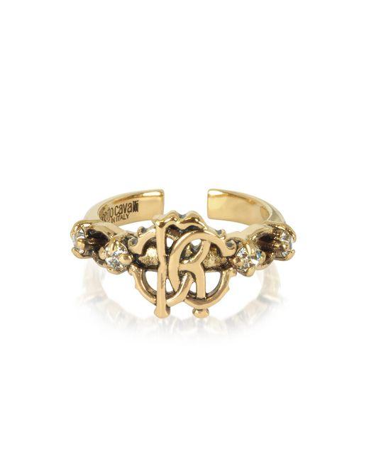Roberto Cavalli - Metallic Brushed Goldtone Rc Icon Ring - Lyst