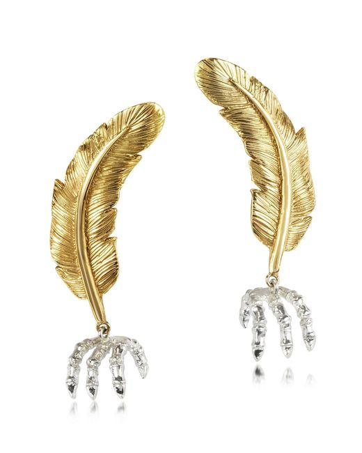 Bernard Delettrez | Metallic Bronze Feather W/silver Claw Earrings | Lyst