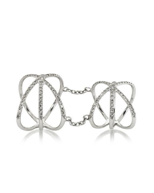 Bernard Delettrez   18k White Gold Criss Cross Articulated Ring W/diamonds Pave   Lyst