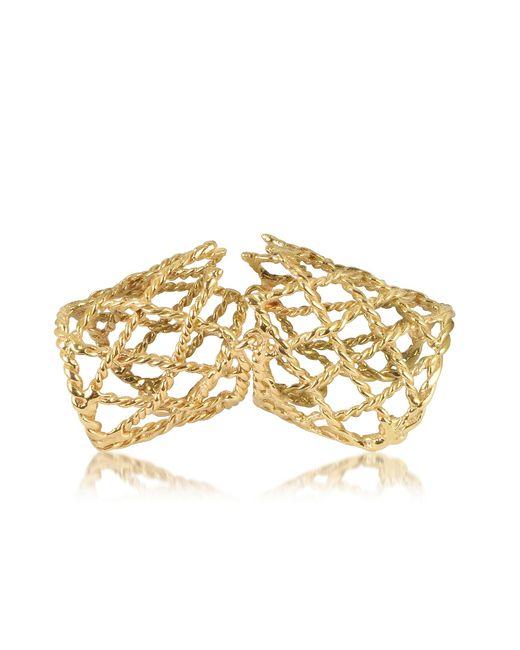 Bernard Delettrez | Metallic Gold Articulated Basket Weave Ring | Lyst