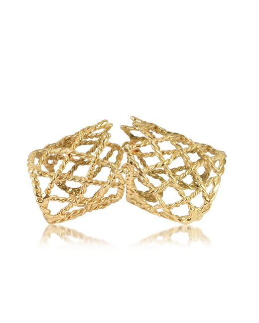 Bernard Delettrez | Metallic Gold Articulated Basket Weave Ring | Lyst