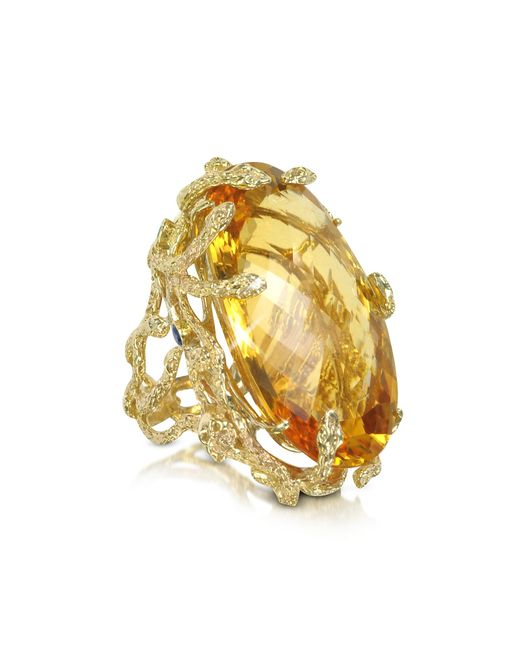 Bernard Delettrez | Metallic Medusa Gold And Citrine Ring | Lyst