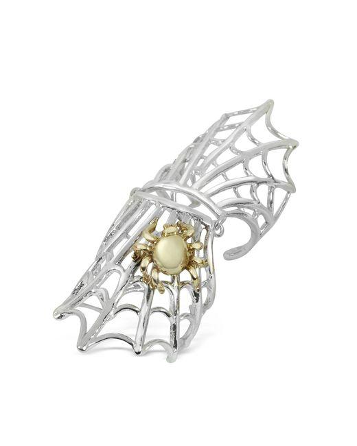 Bernard Delettrez | Metallic Spiderweb Silver And Bronze Articulated Ring | Lyst