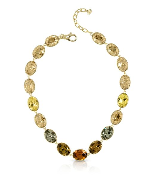 Forzieri - Metallic Golden Crystal Necklace - Lyst