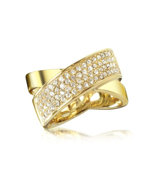 Michael Kors - Metallic Golden Brass And Crystal Pave Women's Ring - Lyst