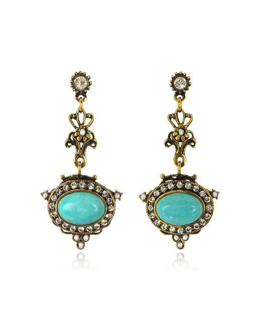 Alcozer & J - Metallic Magnesite Goldtone Brass Earrings W/crystals - Lyst