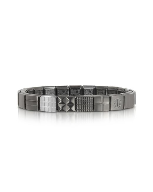 Nomination - Metallic Steel Ikons Piramid Studs Stripes And Mesh Brushed Stainless Steel Bracelet for Men - Lyst