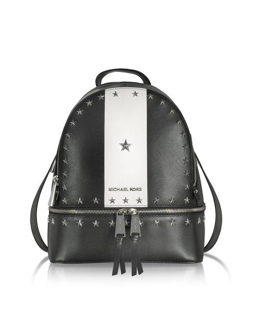 Michael Kors Rhea Zip Medium Black And White Leather